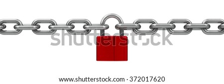 Chain with red lock - security concept, three-dimensional rendering - stock photo