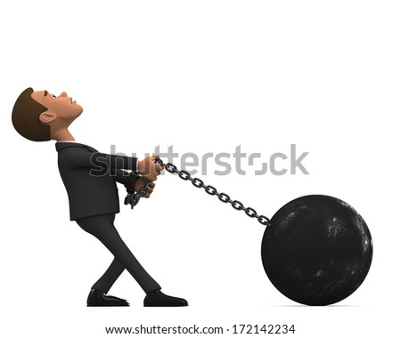 chained businessman on white background - stock photo