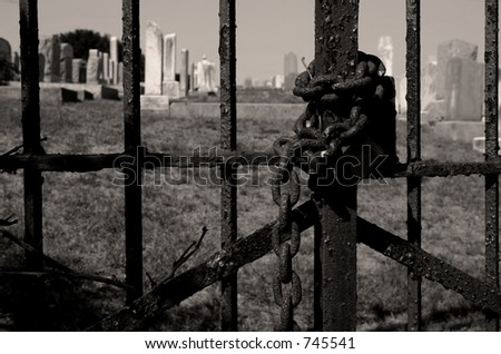 Chained Cemetery Gate in B&W