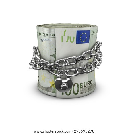 Chained money roll euros, 3D render of locked chain around rolled up hundred euro notes - stock photo