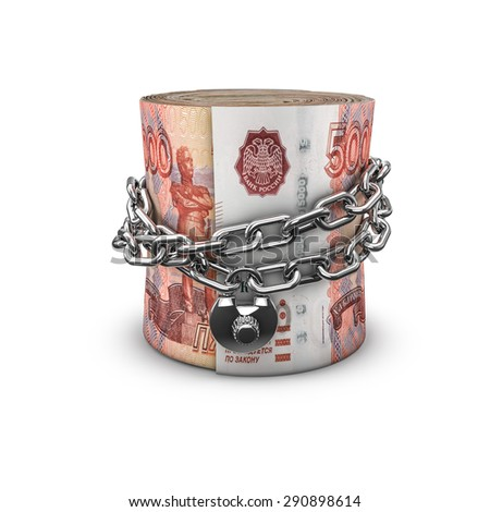 Chained money roll Russian rubles, 3D render of locked chain around rolled up Russian five thousand ruble notes - stock photo