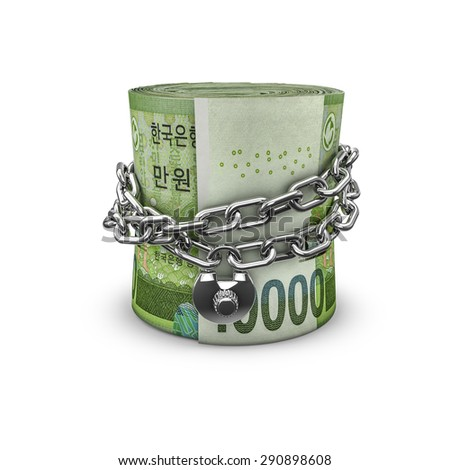 Chained money roll South Korean won, 3D render of locked chain around rolled up South Korean ten thousand won notes - stock photo