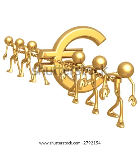 Chained To Euro - stock photo