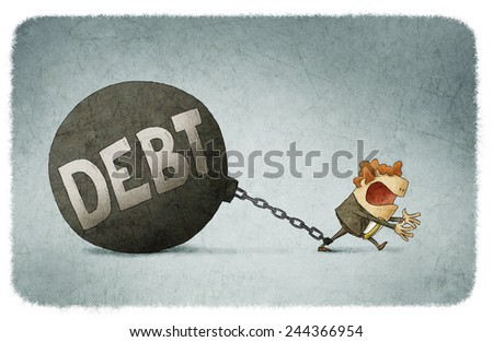 chained to his debts - stock photo