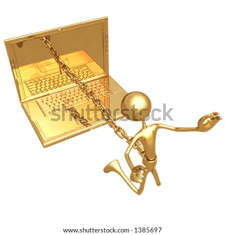 Chained To Laptop - stock photo