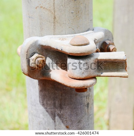 chainlink fence hardware - stock photo