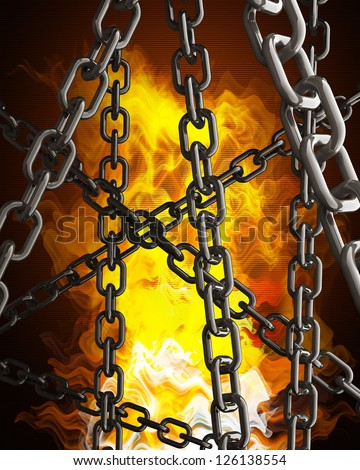 chains in Fire Black Background. High resolution. 3D image - stock photo