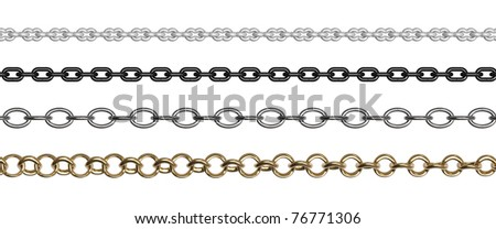 Chains of different forms and shades on a white background - stock photo