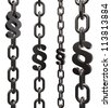 chains with paragraph symbol on white background - 3d illustration - stock photo