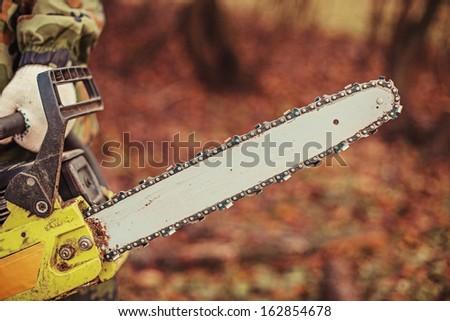 Chainsaw. - stock photo