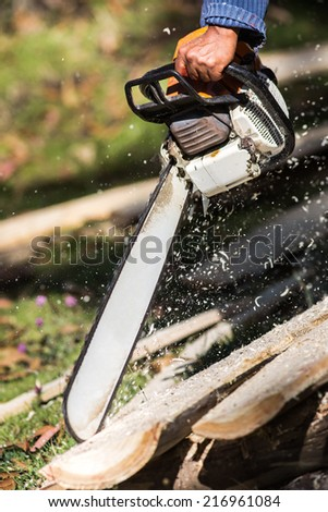 Chainsaw at work - stock photo