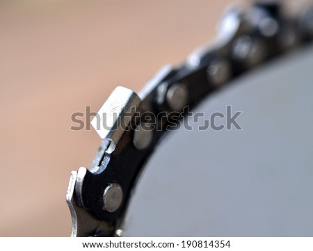 Chainsaw blade detail - stock photo