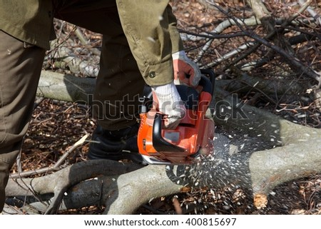 chainsaw cutting