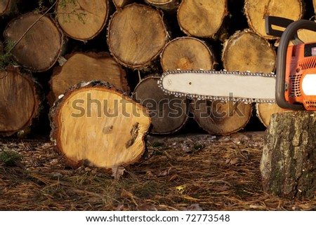 Chainsaw in the garden - stock photo