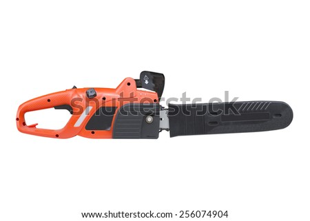 chainsaw isolated on a white background - stock photo