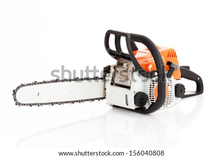 chainsaw isolated on white background - stock photo