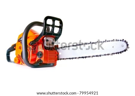 chainsaw - professional petrol chain saw - stock photo