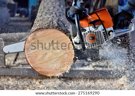 chainsaw sawing wood - stock photo