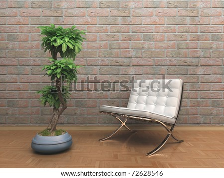 chair and a flower in the room