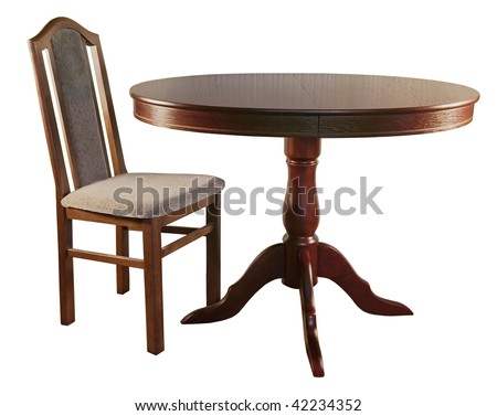 chair and table on a white background