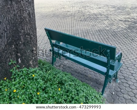 Chair at the garden, spring background