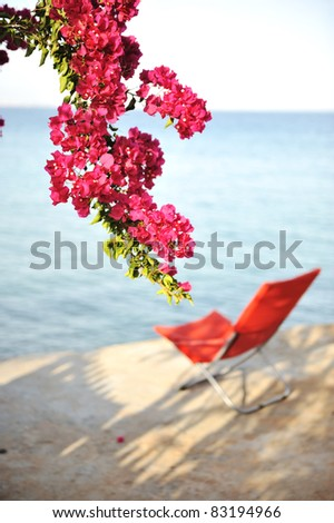 Chair for perfect resting on sea - stock photo