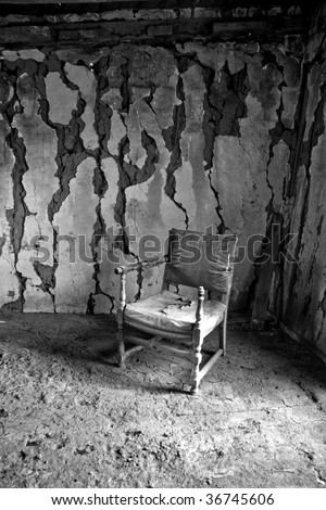Chair in an abandoned cabin
