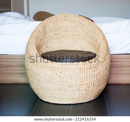 chair in bedroom. - stock photo