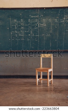 Chair in classroom - stock photo