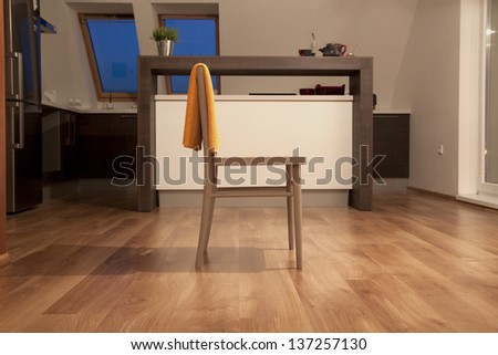 chair in contemporary kitchen interior - stock photo
