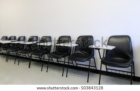 Chair in empty classroom
