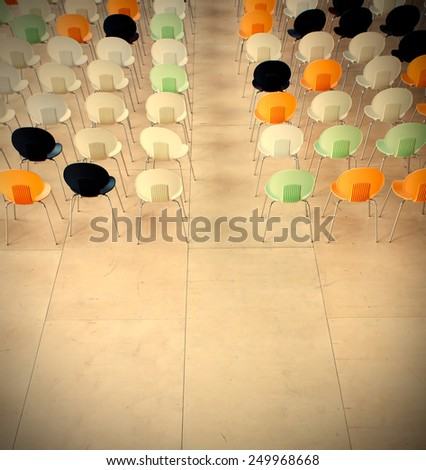 Chair in the conference room, instagram image style - stock photo