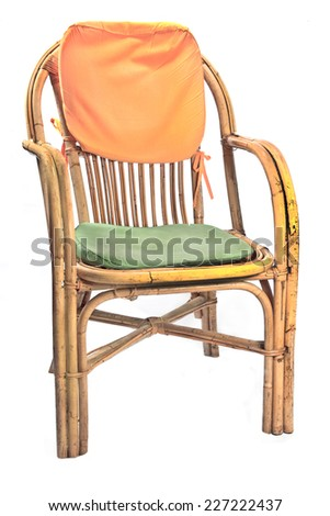 Chair made of rattan with pillows  isolated on white