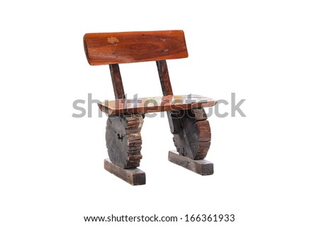 Chair made to wooden with isolated white background