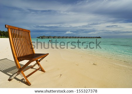 Chair on the beach in the Maldives