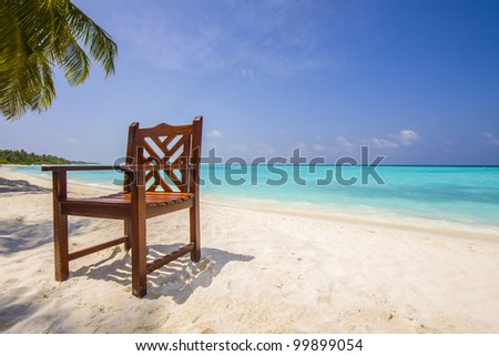 chair under a pam at a tropical, lonesome beach