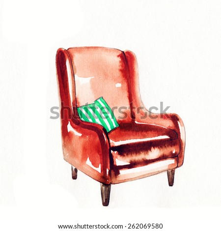 chair . watercolor illustration