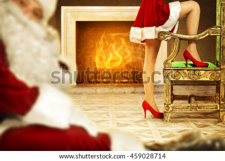 chair woman legs and santa claus of red color