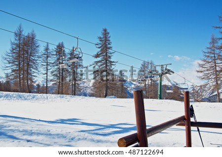 chairlift for skiers in the mountains