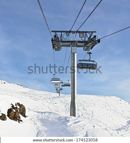 Chairlift in Les Deux Alps,  France - stock photo