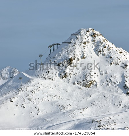 Chairlift on the top of the mountain -  Les Deux Alps, France - stock photo