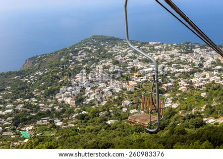 chairlift highest point island capri monte stock photo royalty free