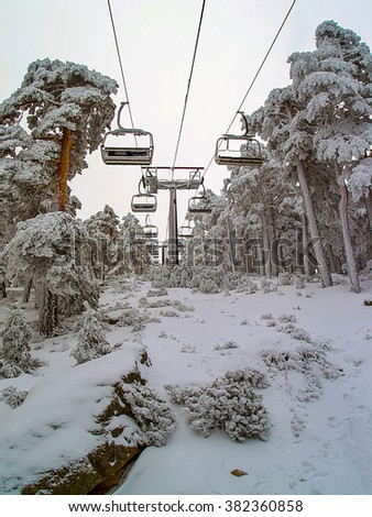 Chairlift  with trees covered in snow