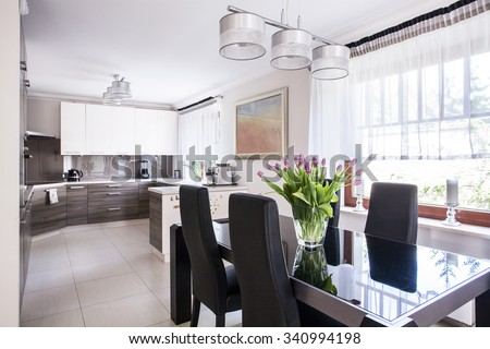 Chairs and table in a dining room  - stock photo