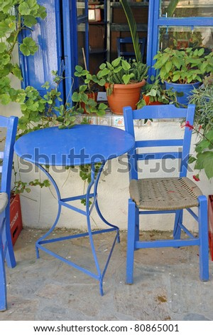 Chairs and table in Greece