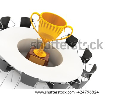 Chairs around a Table with Golden Trophy in the middle on a white background. 3d Rendering