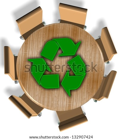 Chairs around round wooden table and recycling symbol on the top / Recycling industry - stock photo