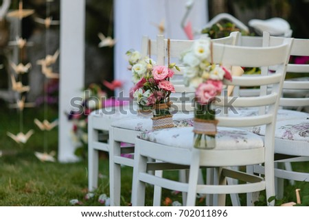 Chairs Decorated Vases Flowers On Wedding Stock Photo Edit Now