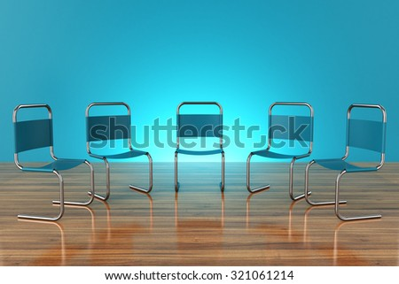 chairs for meetings on a wooden plane with a blue background