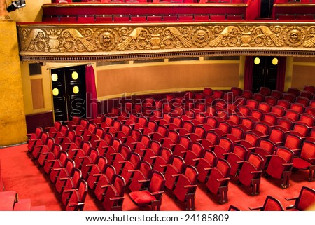 chairs in classic theater performance hall - stock photo